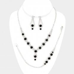 Parure bijoux 4 pieces noir et cristal