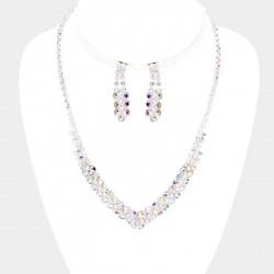 Parure bijoux cristal reflets AB multicolores