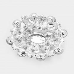 Broche ovale en cristal transparent