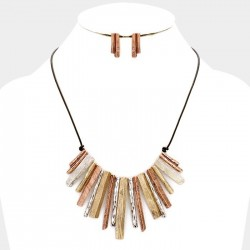 Parure de bijoux style ethnique marron beige