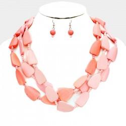 Parure bijoux perles bois rose peche corail