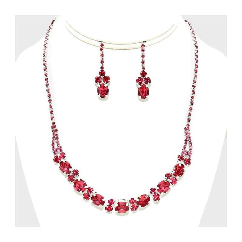Parure bijoux cristal rose fuchsia