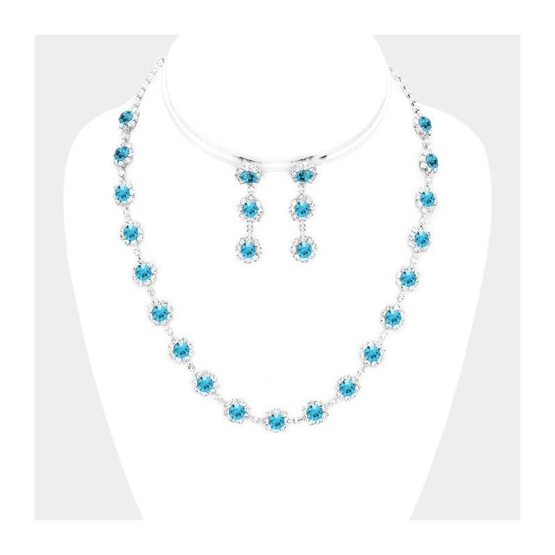 Parure de bijoux cristal bleu ciel turquoise