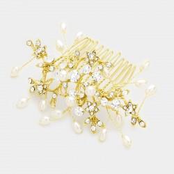 Peigne de mariée or cristal perles ivoires