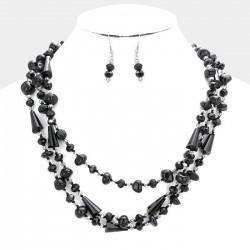 Parure de bijoux perles noires