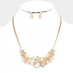 Parure de bijoux or cristal et perles rose peche