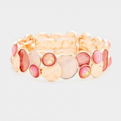 Bracelet stretch métal rose peche or  rose