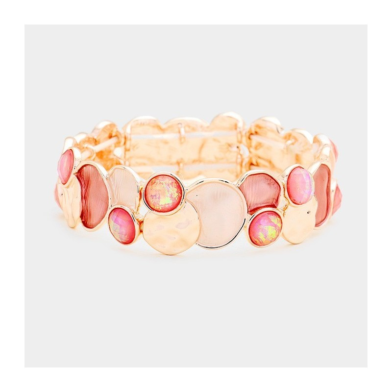 Bracelet stretch métal rose peche or  rose