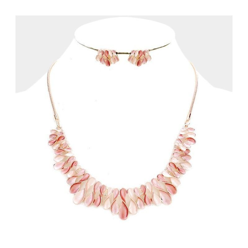 Parure de bijoux métal rose peche