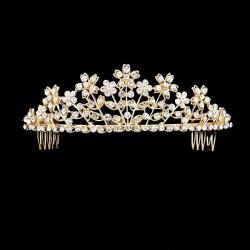 Diademe fleur cristal doré