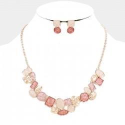 Parure de bijoux pastilles nacrées rose peche