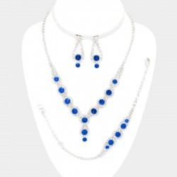 Parure bijoux 4 pieces bleu et cristal