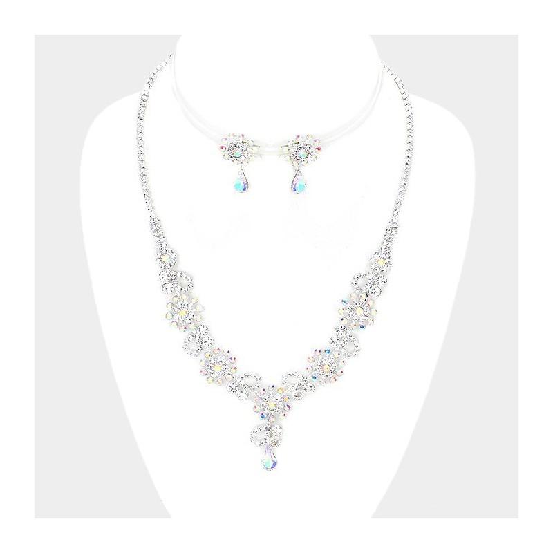 Parure bijoux strass reflets AB multicolores