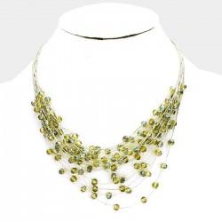 Collier nuages de perles vert anis