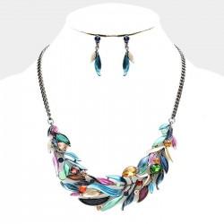 Parure de bijoux flammes multicolores