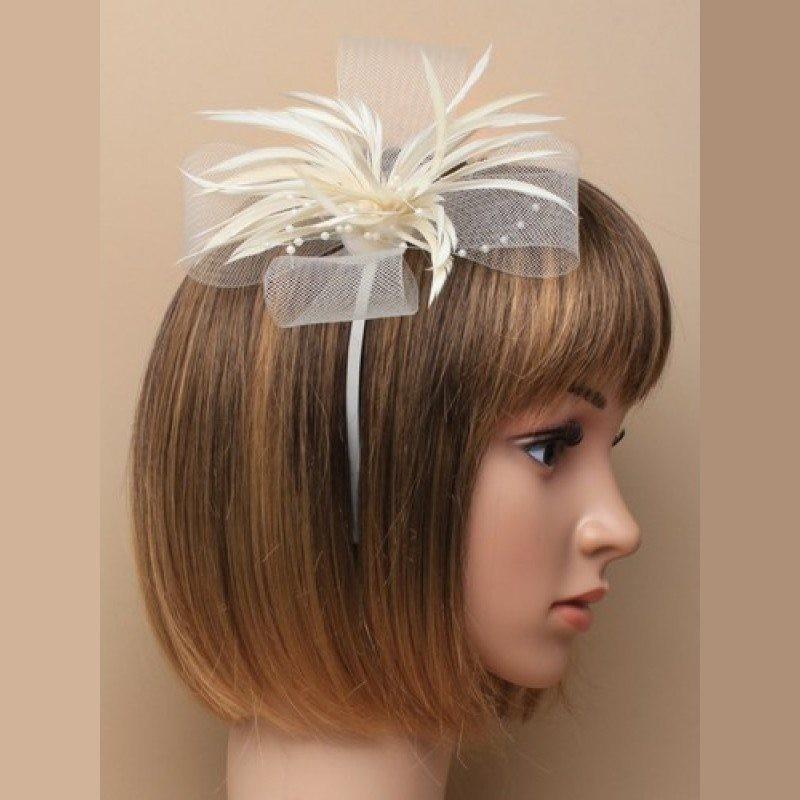 Chapeau mariage Headband ruban perles plumes ivoire