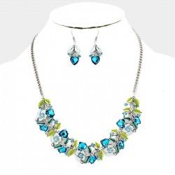 Parure bijoux bleu turquoise et vert