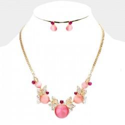 Parure de bijoux or cristal et perles rose et fuchsia