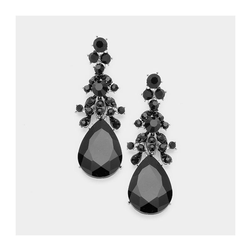Boucles d'oreilles gouttes cristal noir