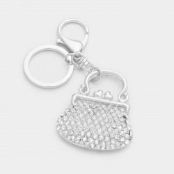 Porte clés sac vintage strass cristal argent