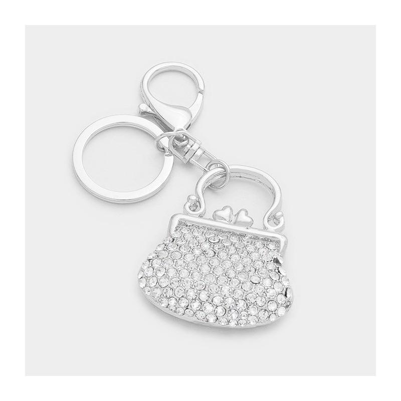 Porte clés ou charm sac escarpin strass cristal argent