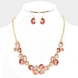 Parure de bijoux rose peche