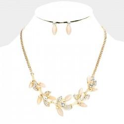 Parure bijoux ivoire peche et cristal