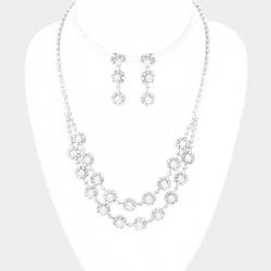 Parure de bijoux perles blanches et cristaux