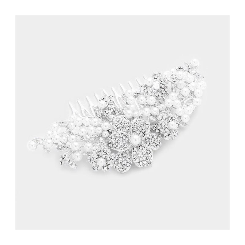 Peigne de mariee fleurs cristal et perles