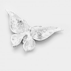 Broche cristal papillon multicolore et fuchsia