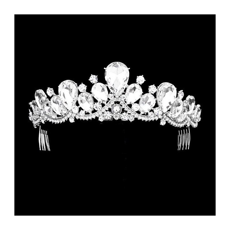 Diademe de mariage style couronne cabochons cristal