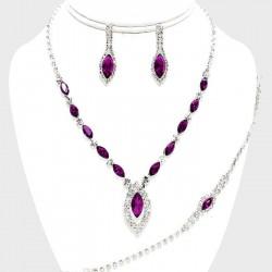 Parure bijoux marquise cristal fuchsia violet