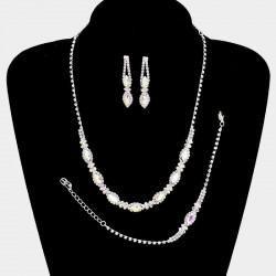 Parure bijoux 4 pieces cristal reflets AB multicolores