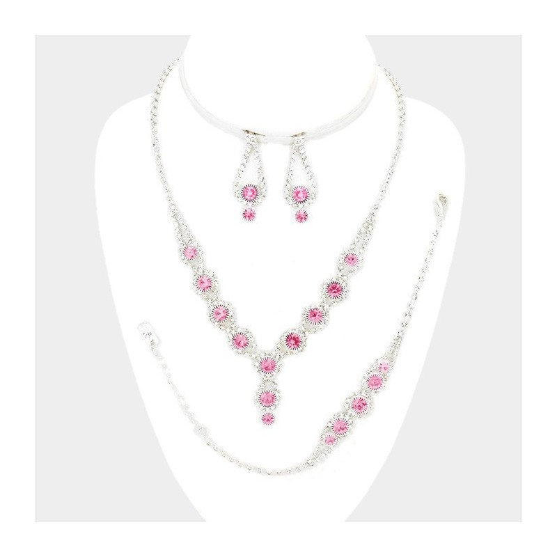Parure mariage 4 pieces cristal rose