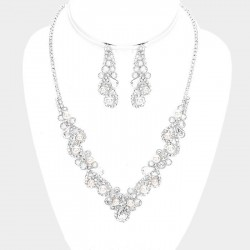 Parure bijoux mariage perles blanches et cristal