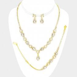 Parure mariée 4 pieces perles ivoires et or