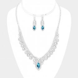 Parure bijoux mariage cristal bleu turquoise