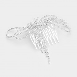 Peigne noeud strass cristal transparent