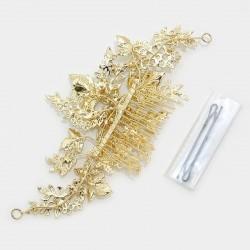 Peigne et vigne de cheveux mariage cristal et or