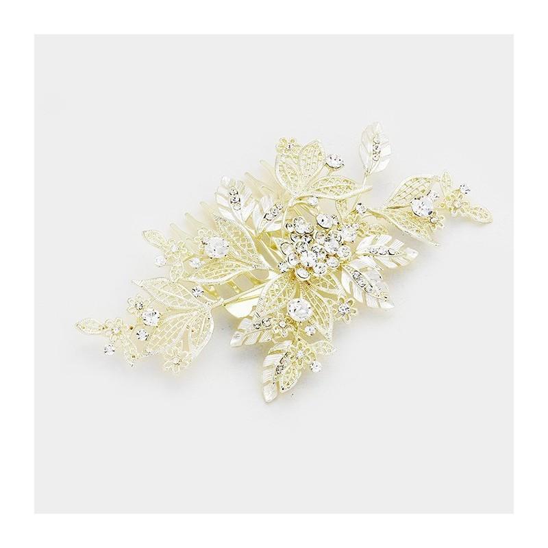 Peigne mariée feuilles cristal et or