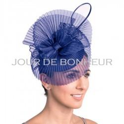 Chapeau mariage Bibi voilette plissée bleu royal