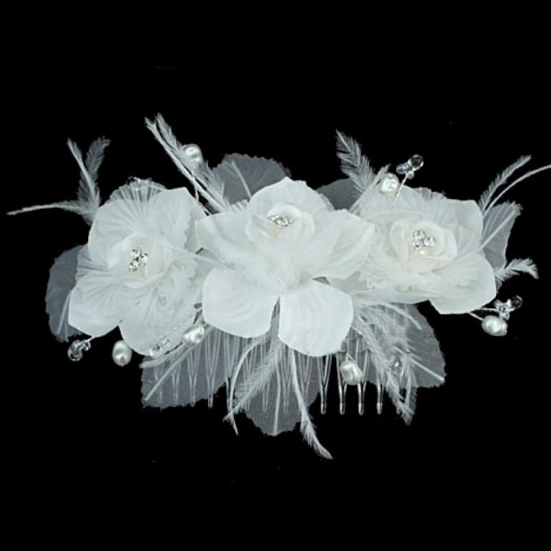 Peigne mariage 3 fleurs satin et cristal