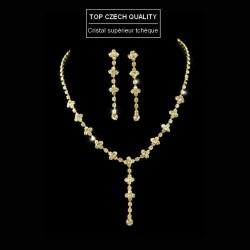 Parure bijoux dorée en cristal
