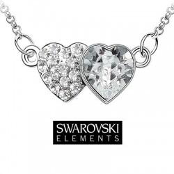 Collier double coeur cristal Swarovski