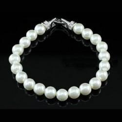 Bracelet perles blanc et cristal Swarovski