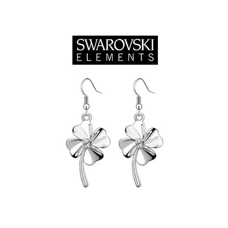 Boucles d'oreilles Swaroski trefle 4 feuilles