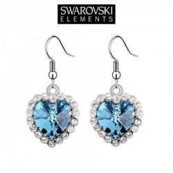 Boucles d'oreilles Swarovski coeur bleu