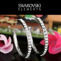 Boucles d oreilles creoles Swarovski transparent