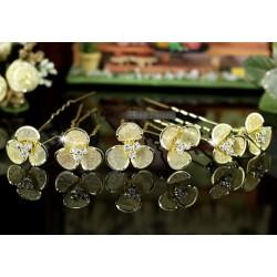 6 épingles cheveux fleurs cristal OR