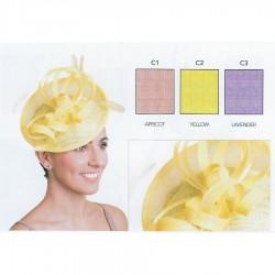Chapeau mariage Accessoire de coiffure sisal et plumes violet